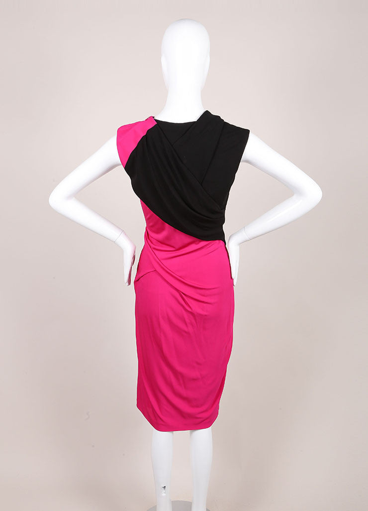 Alexander Wang New With Tags Pink And Black Color Block Twist Sheath Dress Backview