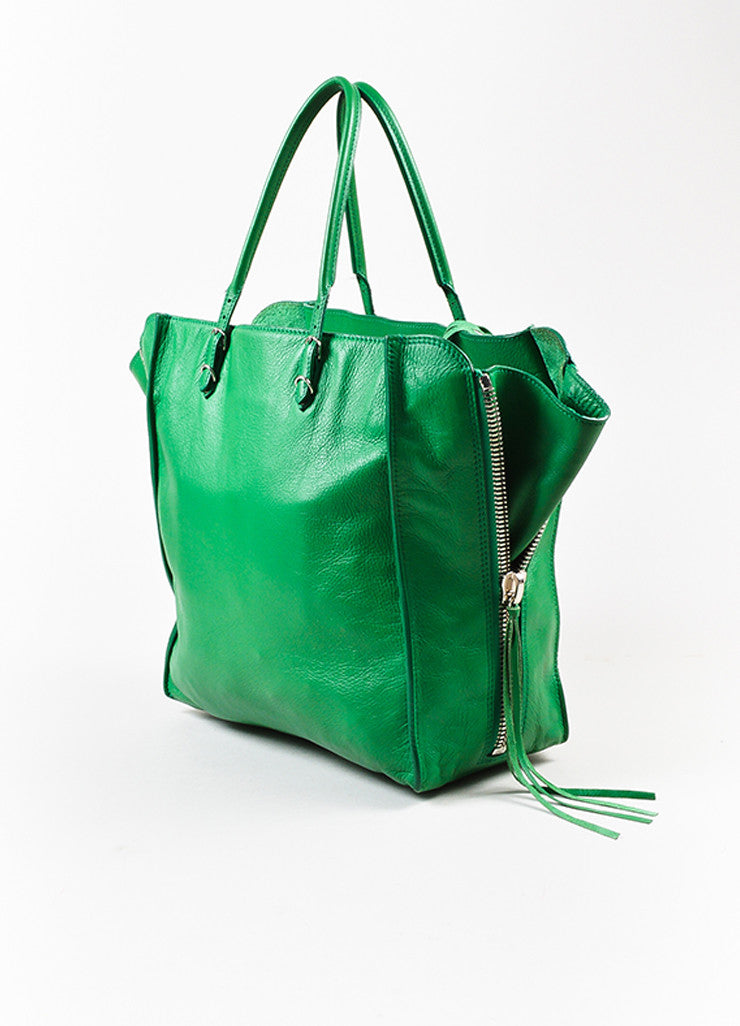 "Balenciaga Green Leather Silver Hardware ""Papier A5 Zip Around"" Tote Bag Sideview"