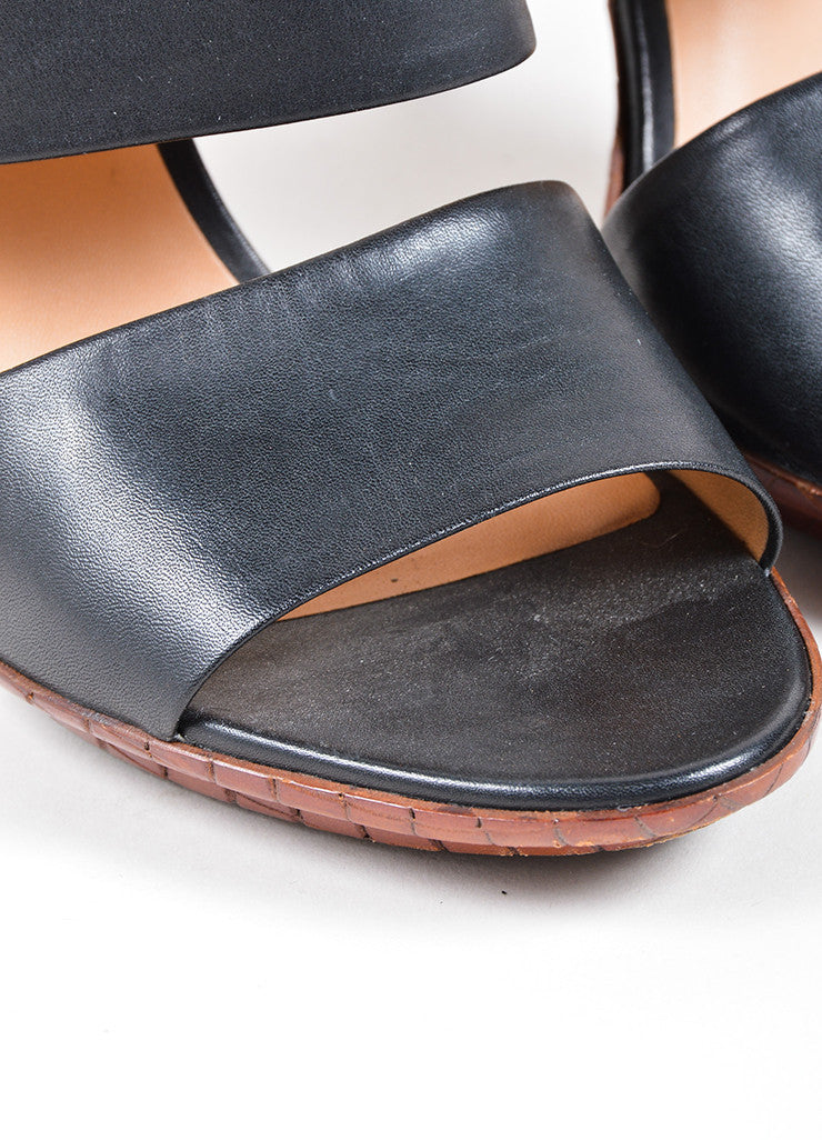 Bottega Veneta Black and Brown Leather Wide Double Strap Heeled Sandals Detail