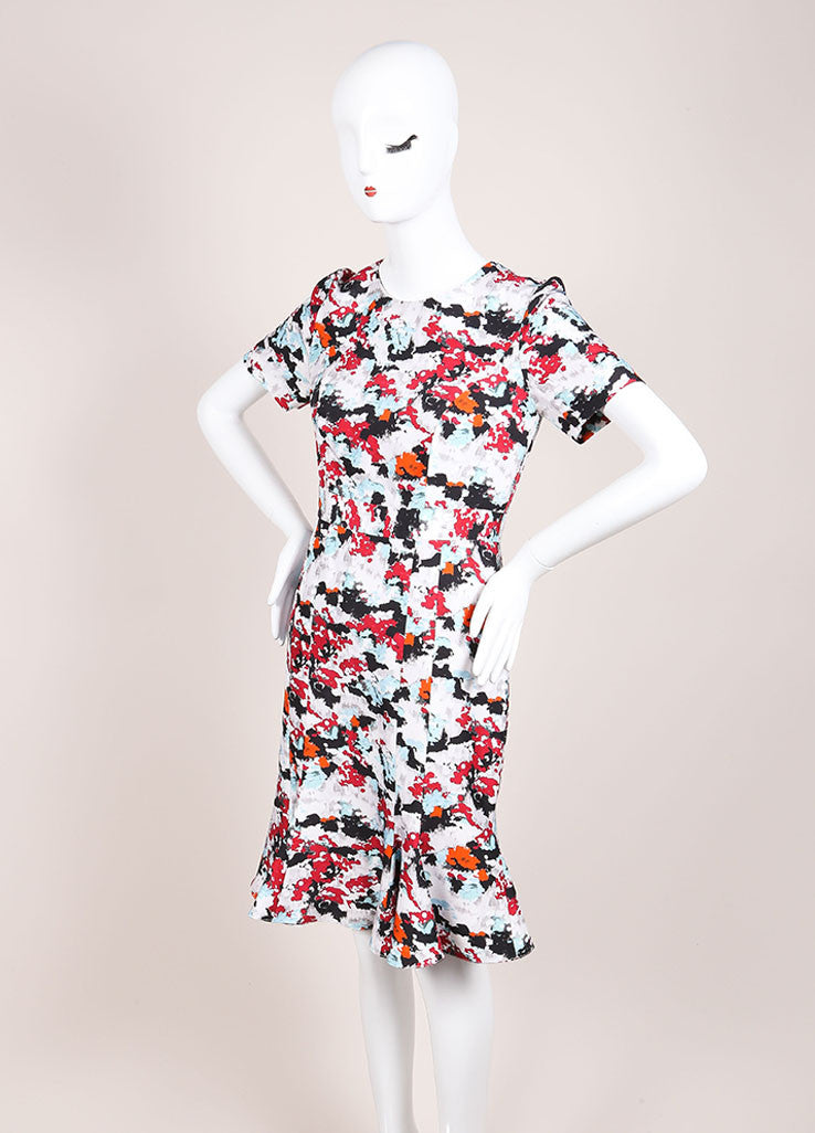 Carolina Herrera Grey, Red, and Multicolor Abstract Floral Print A-Line Dress Sideview