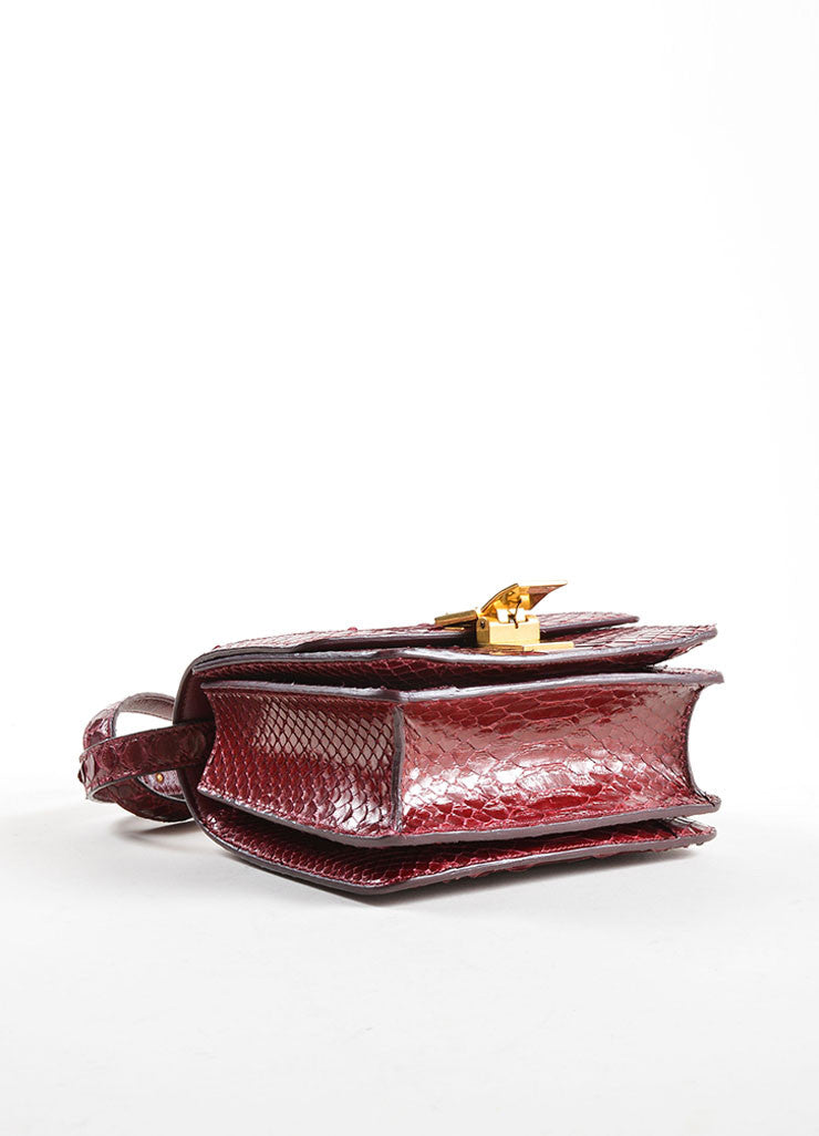 Celine Dark Red Snakeskin Leather Small Flap Box Bag Bottom View