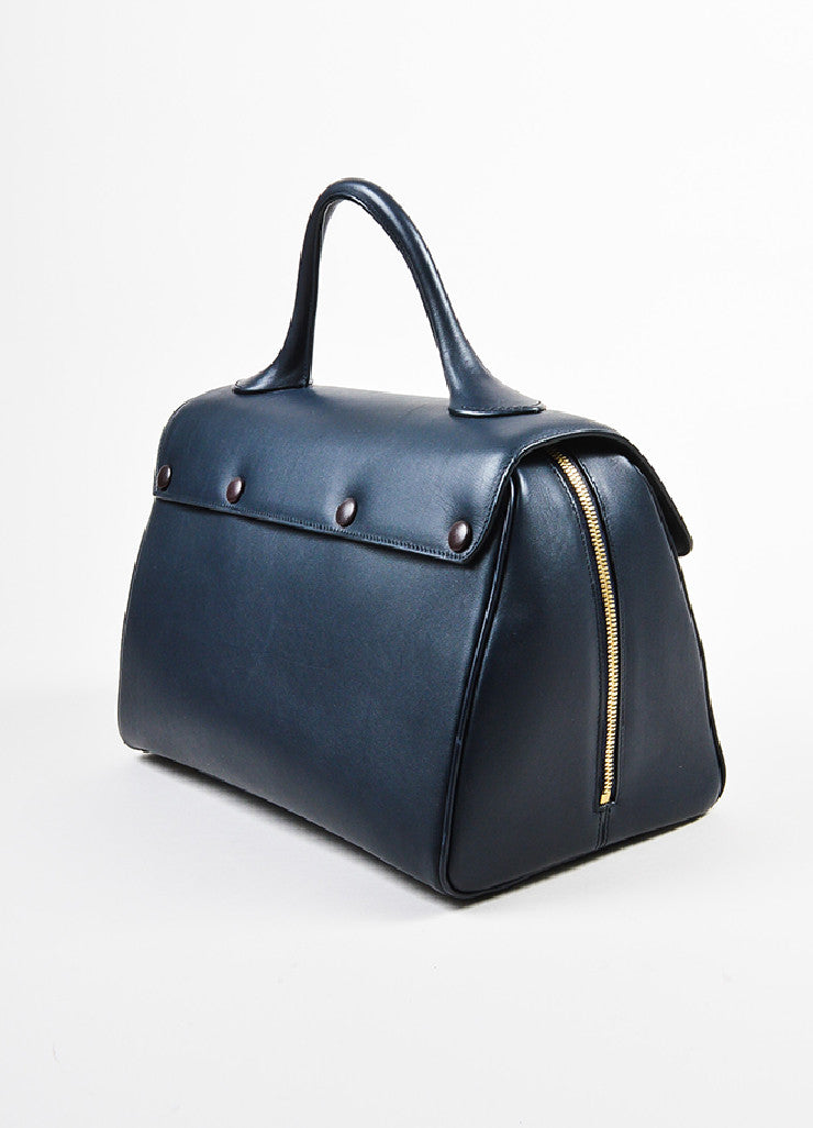 Celine Navy Leather Top Handle Doctor Handbag Sideview
