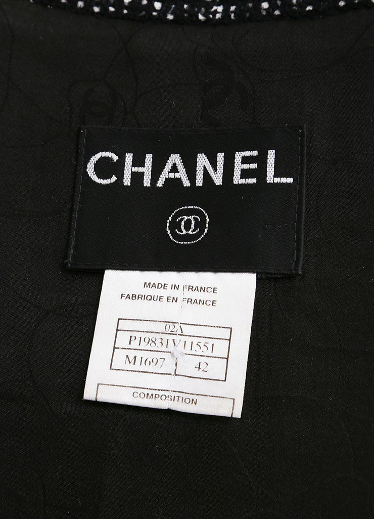 Chanel 02A Black and White Wool Blend Tweed Skirt Suit