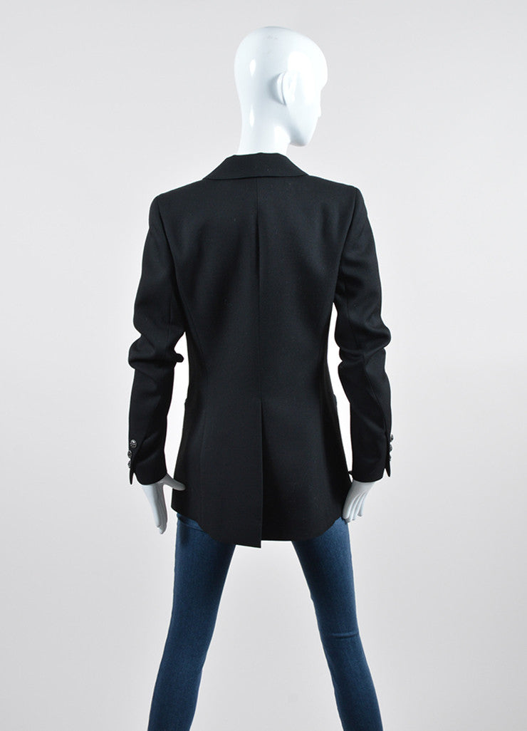 Black Wool Chanel 'CC' Button Single Breasted Tailored Blazer Backview
