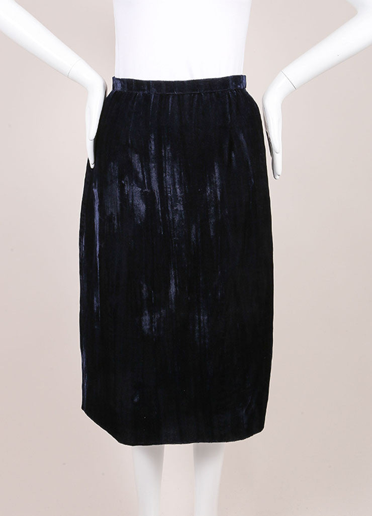 Chanel Midnight Blue Velvet Midi Pencil Skirt Frontview