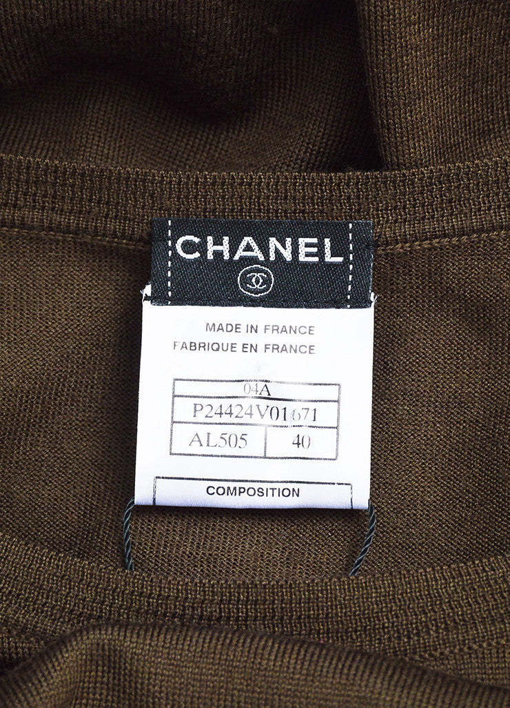 Chanel Brown Wool Knit Crew Neck Short Sleeve Top Brand