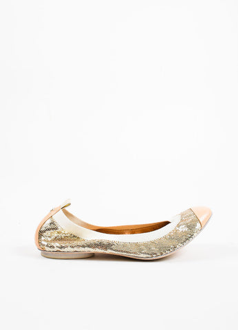 Chanel Nude Metallic Gold Leather Cap Toe Sequin Ballet Flats Sideview