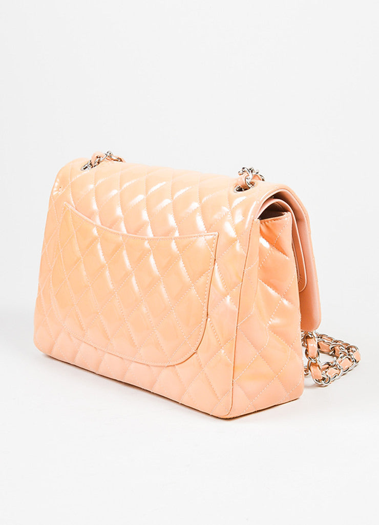 "Nude Chanel Patent Leather Quilted ""Classic Jumbo"" Double Flap Shoulder Bag Sideview"
