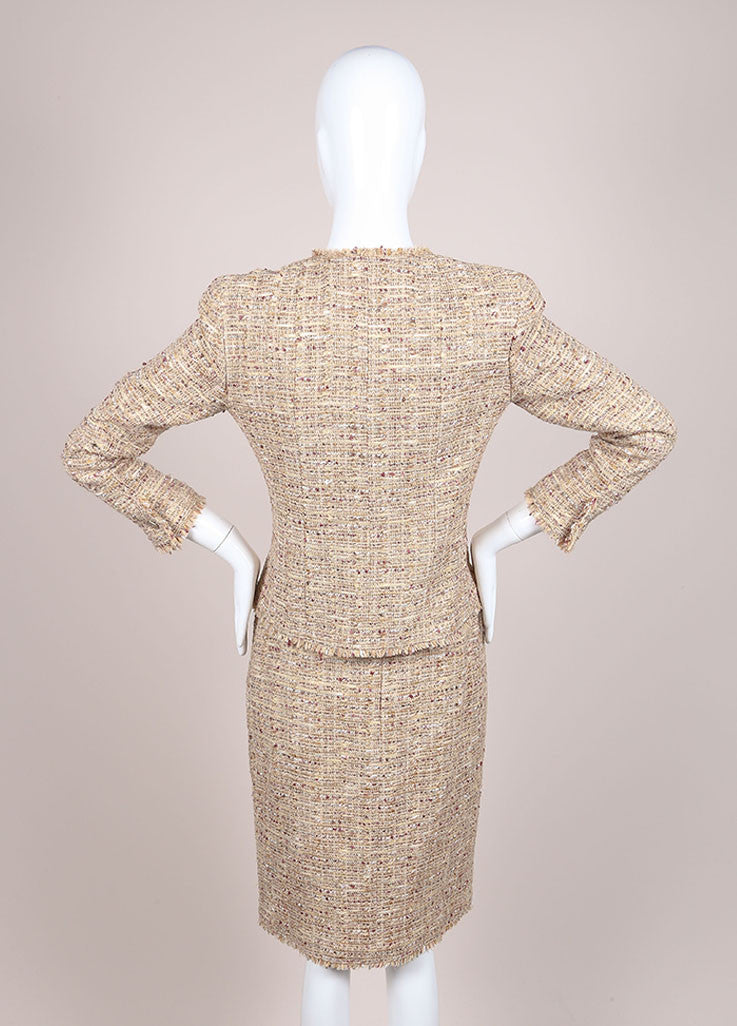 Chanel Tan and Multicolor Boucle Tweed Fringe Trim Skirt Suit Backview