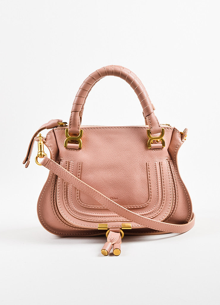 "Pink Chloe Leather Mini ""Marcie"" Satchel Bag Front"
