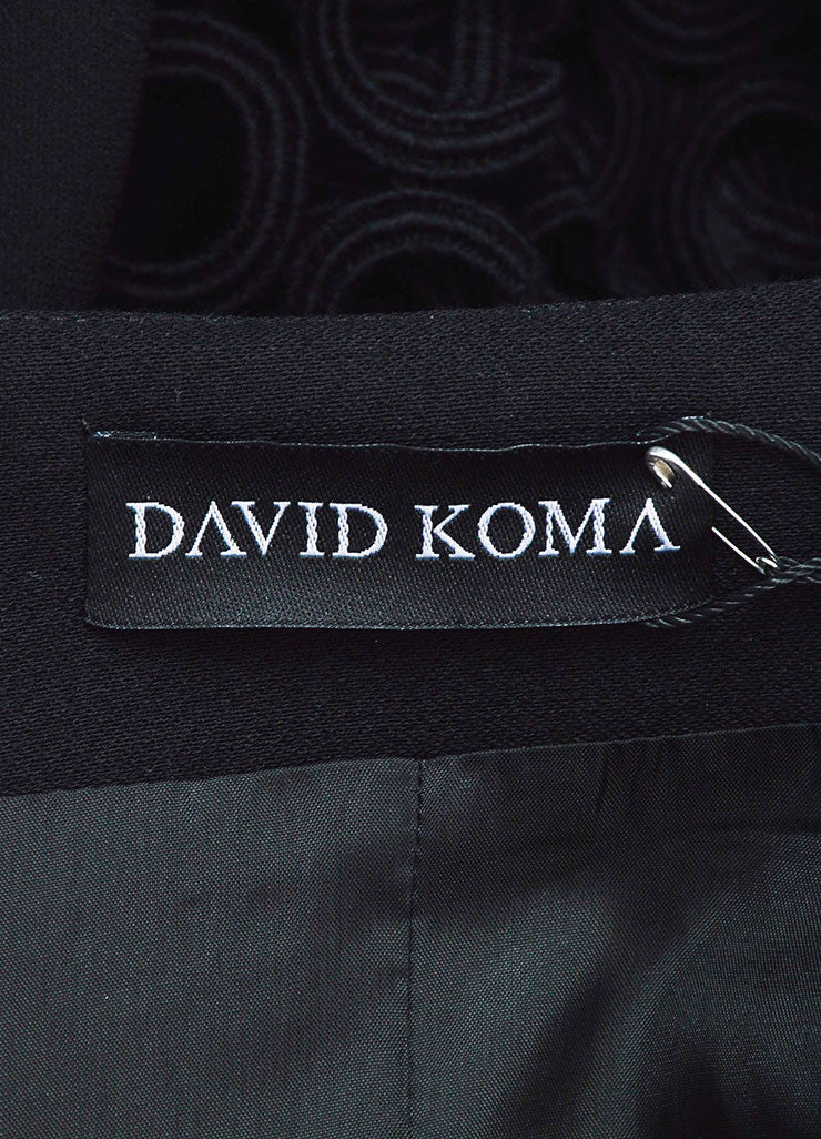 David Koma Black Wool Patent Leather Cut Out Sleeve Jacket Brand