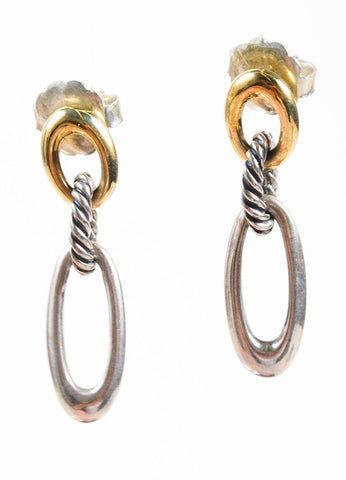 "David Yurman 18K Gold and Sterling Silver Oval Loop Cable ""Figaro"" Drop Earrings Frontview"