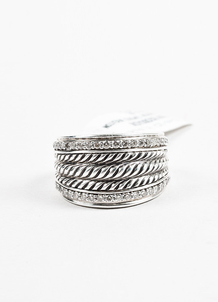 "David Yurman Sterling Silver and Diamond ""Wheaton Band"" Cable Ring Frontview 2"