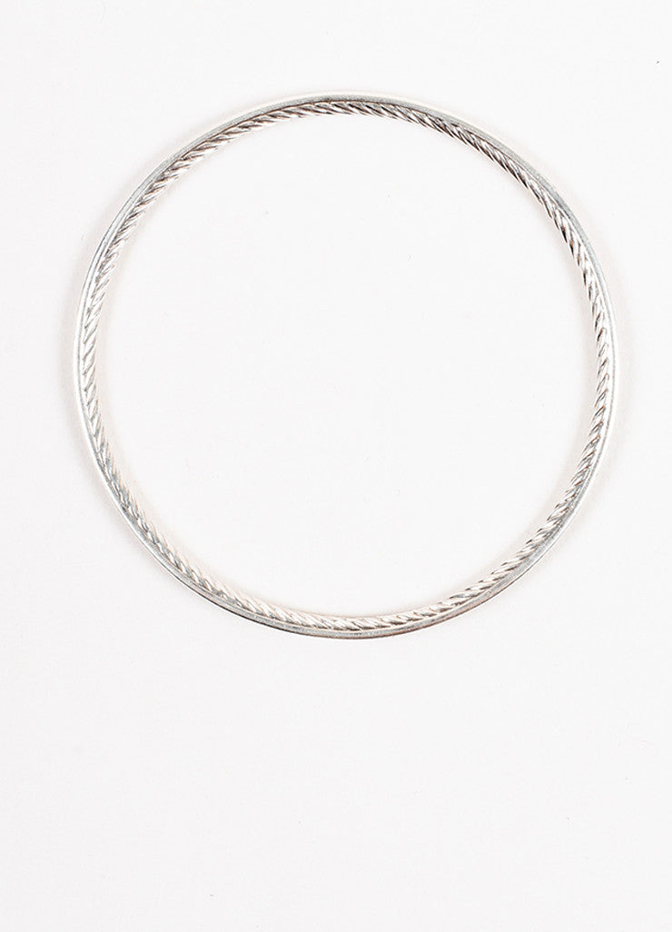 "David Yurman Sterling Silver and Diamond ""Cable Inside"" Bangle Bracelet Topview"