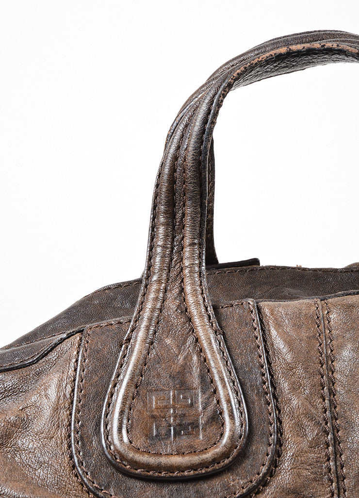 "Givenchy Dark Brown Wrinkled Leather ""Nightingale"" Tote Bag Detail 3"