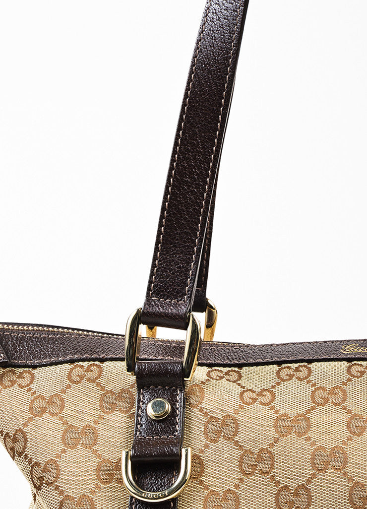 "Gucci Beige and Brown Canvas Leather Trim Monogrammed Medium ""Abbey"" Tote Bag"