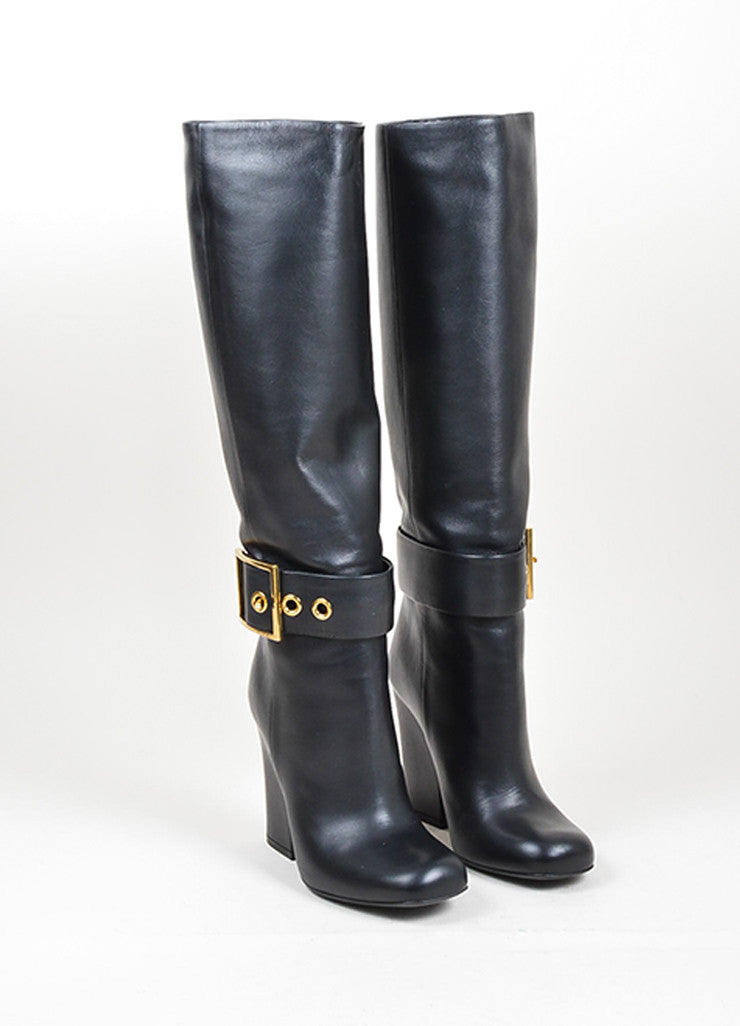 Black and Gold Toned Gucci Buckled Knee High Heeled Square Toe Boots Frontview