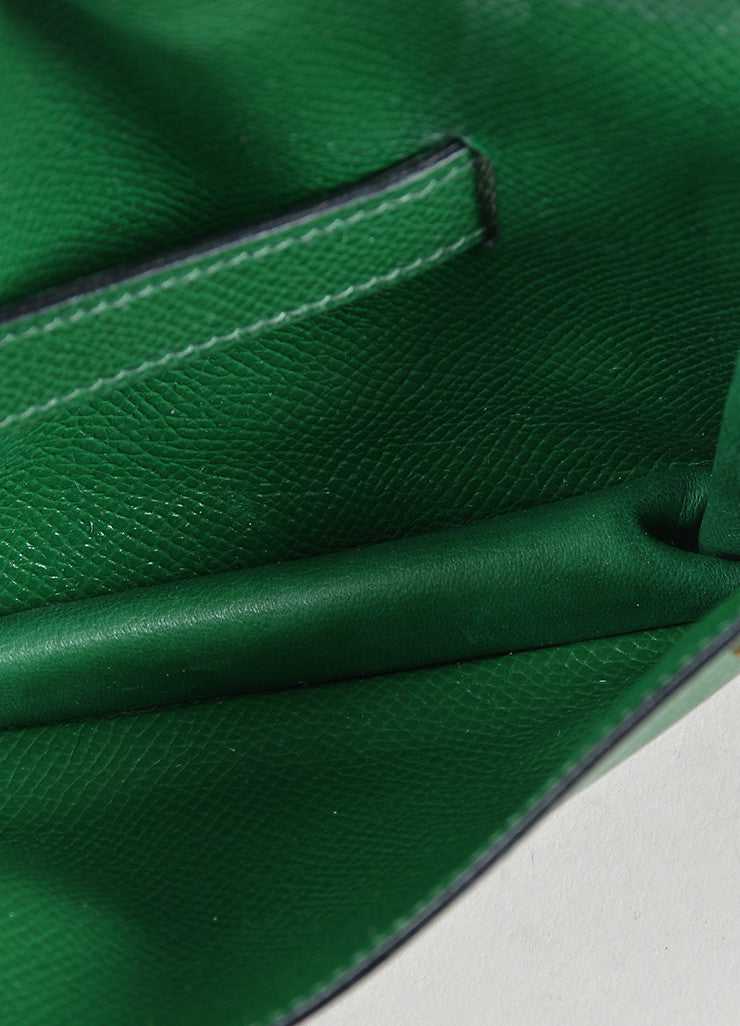 Green Hermes Leather Pouch Tie Snap Fanny Pack Small Belt Bag Interior
