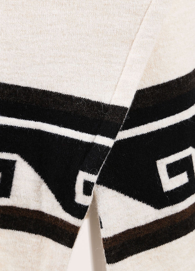 "Isabel Marant Cream Geometric Trim Sleeveless Knit ""Sandy"" Dress Detail"