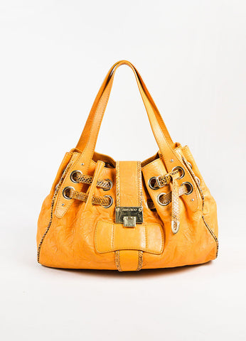 "Jimmy Choo Orange and Brown Leather Snakeskin Trim ""Ramona"" Satchel Bag Frontview"