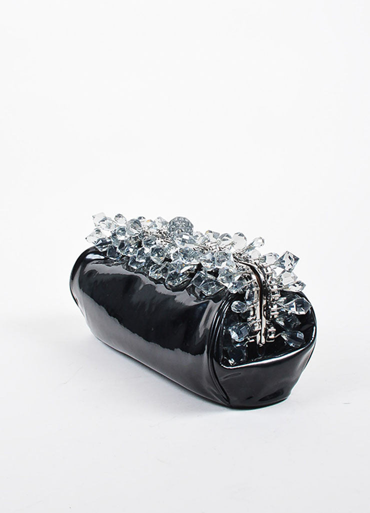 "Black and Grey Prada Patent Leather Crystal ""Vernice"" Clutch Bag Sideview"