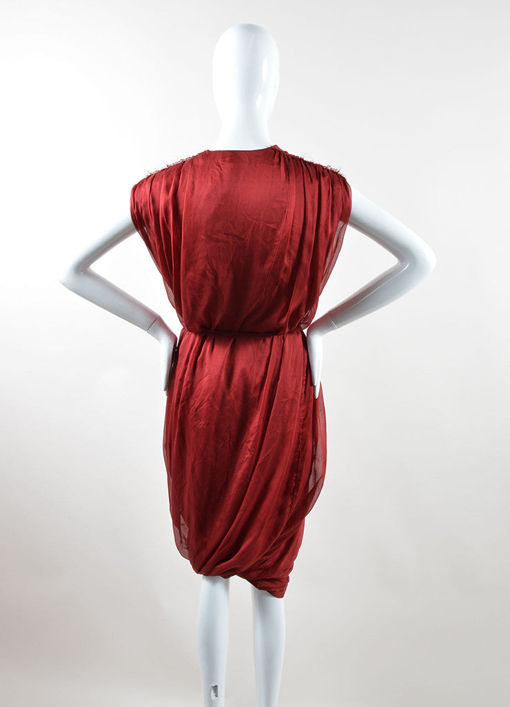 Red Lanvin Silk Sleeveless Tie Belted Sack Dress Back