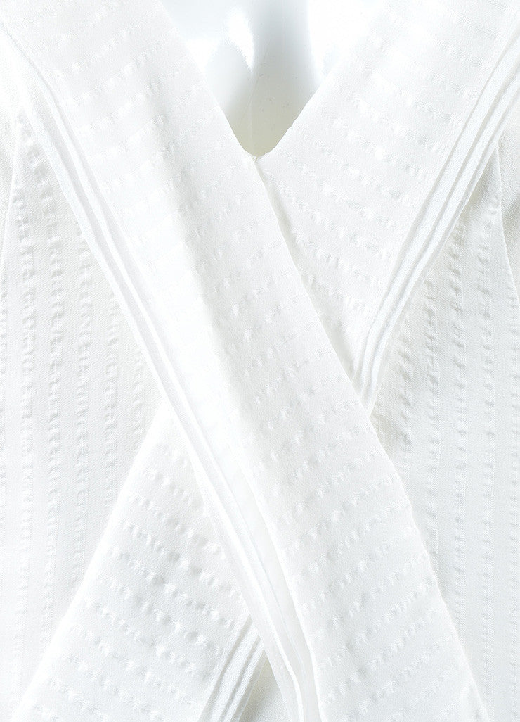 "Mulberry White Silk Ruffle Asymmetrical ""Blossom"" Flounce Dress Detail"
