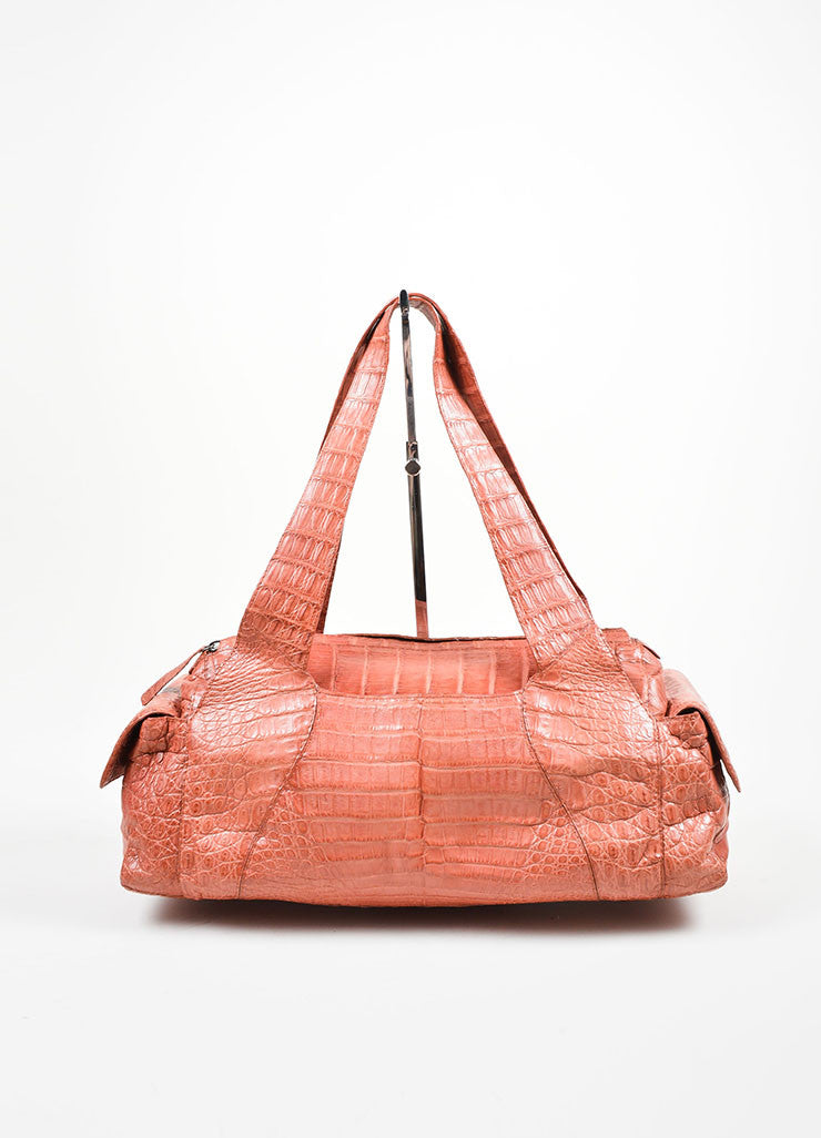 Rust Red Nancy Gonzalez Crocodile Leather East West Shoulder  Bag Frontview