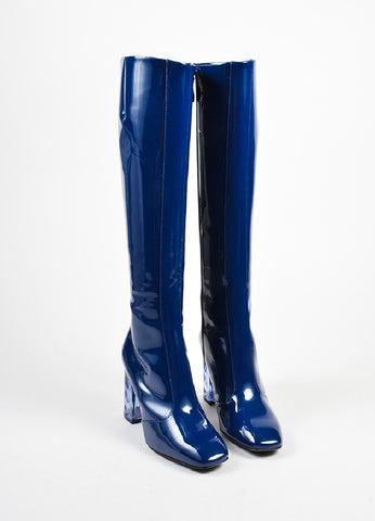 Navy Blue Nicholas Kirkwood Patent Leather Carnaby Knee High Boots Front