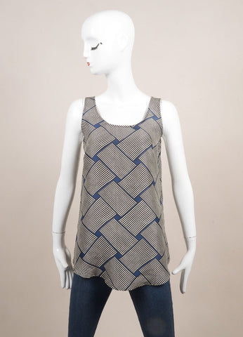 Odeeh New With Tags Blue, Black, and White Silk Abstract Stripe Print Tank Top  Frontview