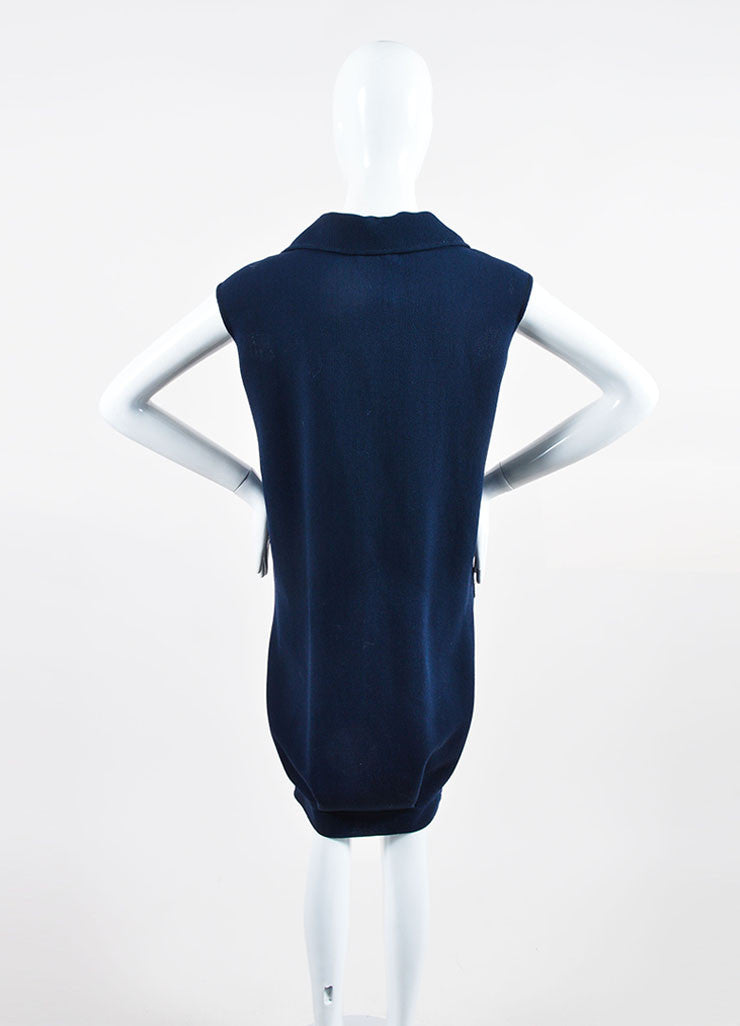 Navy Oscar de la Renta Wool Double Breasted Sleeveless Dress Backview