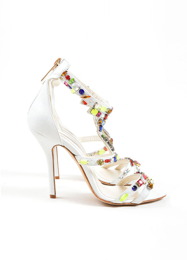 "Oscar de la Renta White and Multicolor Leather Jewel ""Simona"" Sandals Sideview"