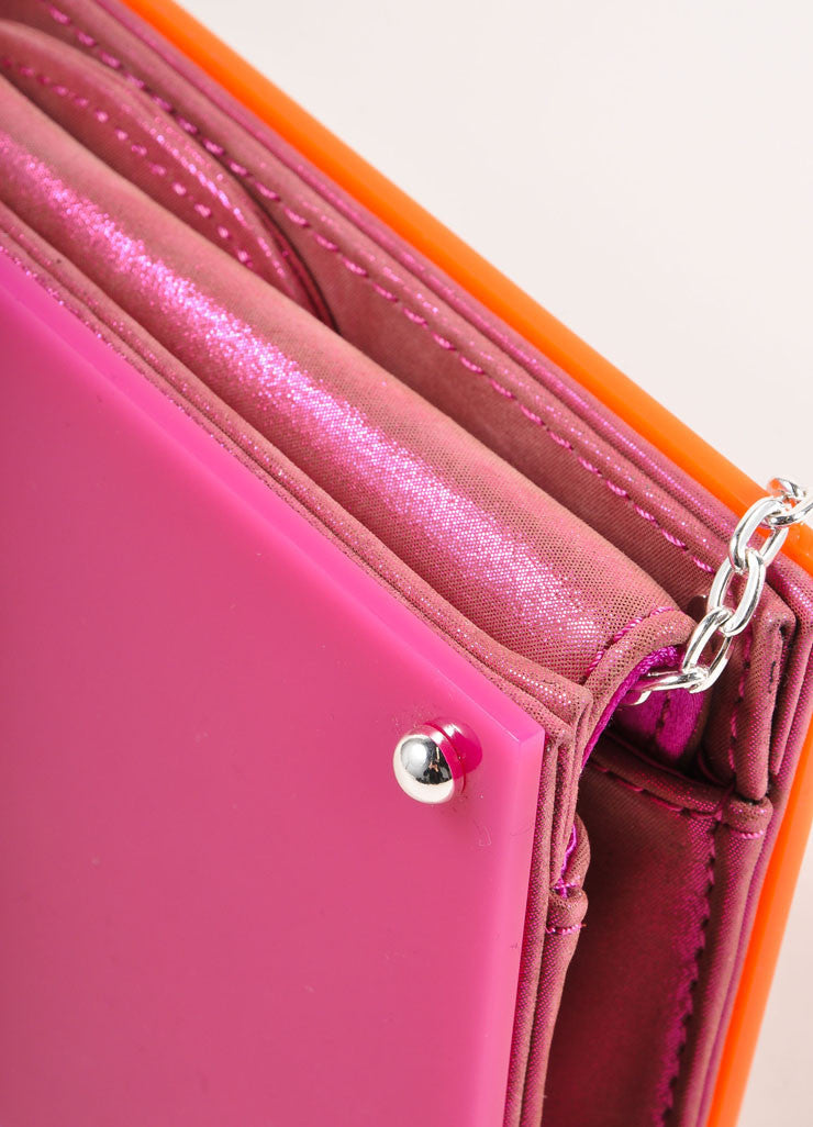 Overture Judith Leiber Orange and Pink Color Block Panel Chain Strap Clutch Bag Detail 2