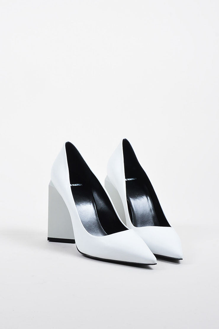 "Pierre Hardy White Leather ""Monolite"" Chunky Heel Pointed Pumps Frontview"