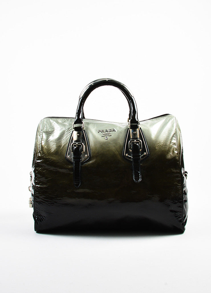 "Prada Olive and Black Patent Leather Ombre ""Sfumato"" Top Handle Satchel Bag Frontview"