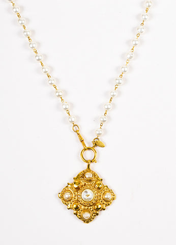 Chanel Gold Toned Faux Pearl Strand Medallion Removable Pendant Necklace Detail