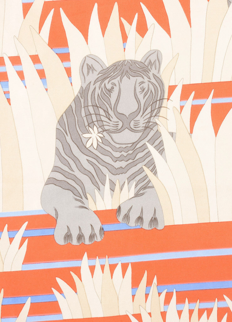 Hermes Orange and Blue Tiger Print Silk Scarf Detail 2