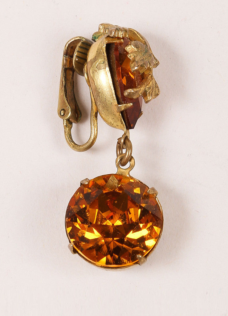 Miriam Haskell Orange and Gold Toned Leaf Rhinestone Dangle Earrings Detail