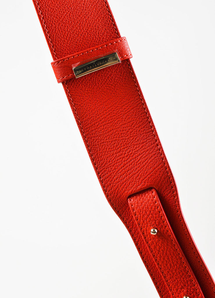 Crimson Red Victoria Beckham Calf & Lambskin Soft Shoulder Bag Detail 3