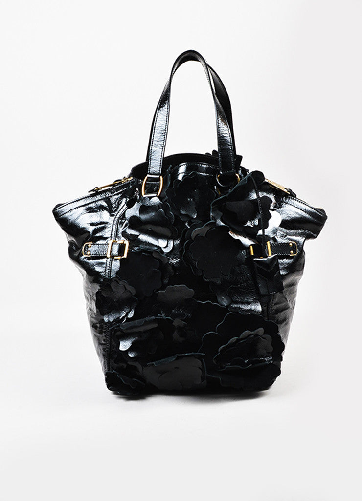 "Black Yves Saint Laurent Patent Leather Floral Applique ""Downtown"" Tote Bag Frontview"