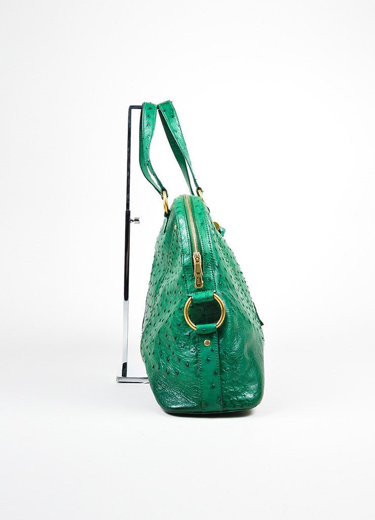 "Green and Gold Toned Yves Saint Laurent Ostrich Limited Edition ""Muse"" Bag Sideview"