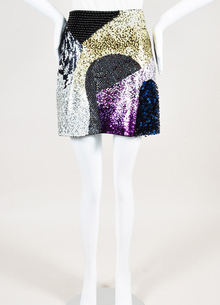 3.1 Phillip Lim Black and Multicolor Wool Sequin Beaded Mini Skirt Frontview