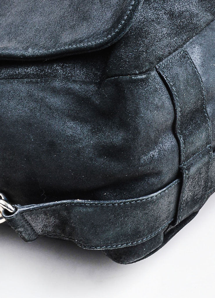 Black Balenciaga Suede Leather Flap Messenger Shoulder Bag Detail