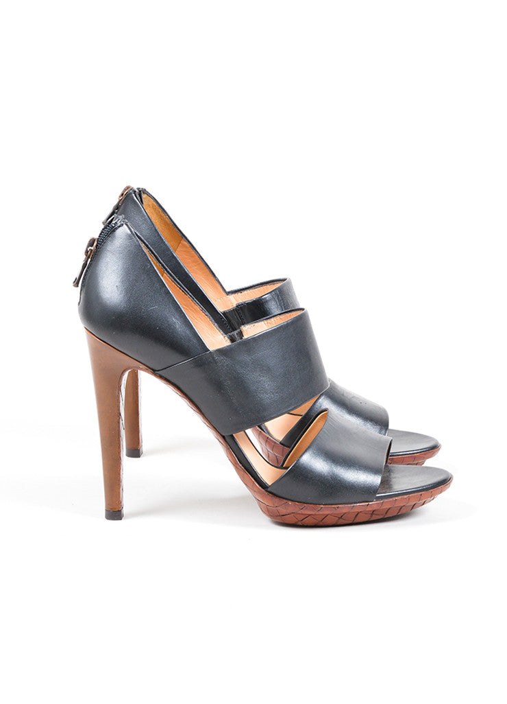 Bottega Veneta Black and Brown Leather Wide Double Strap Heeled Sandals Sideview