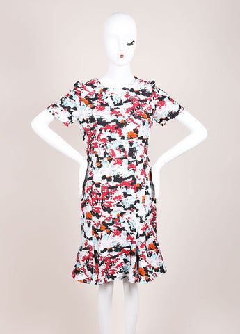 Carolina Herrera Grey, Red, and Multicolor Abstract Floral Print A-Line Dress Frontview