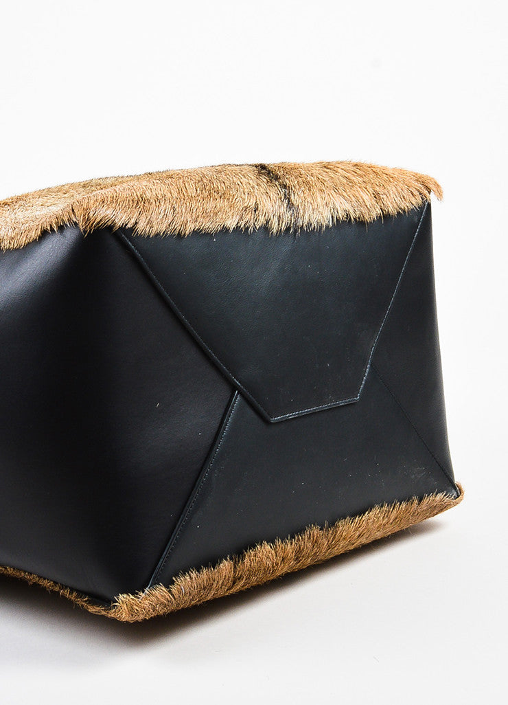 "Black and Tan Celine Leather Fur ""Medium Phantom Cabas Belt"" Tote Bag Top"
