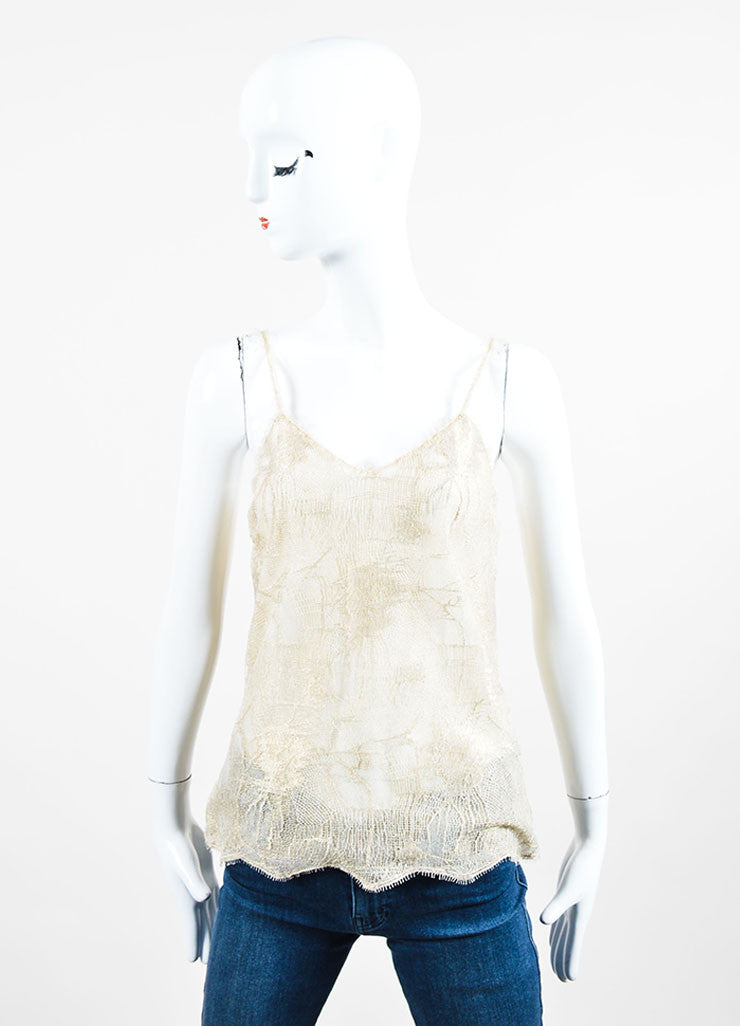Metallic Gold Chanel 05A Beige Lace 'CC' Button Tank Front
