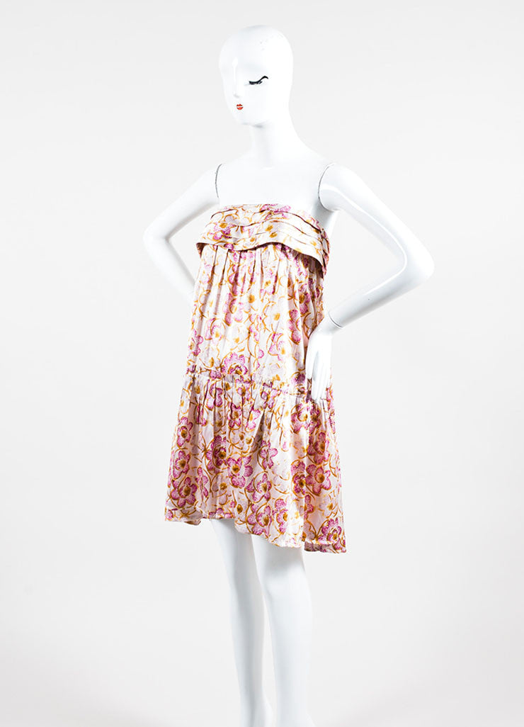 Pink & Yellow Chanel Silk Floral Print Strapless Dress Side