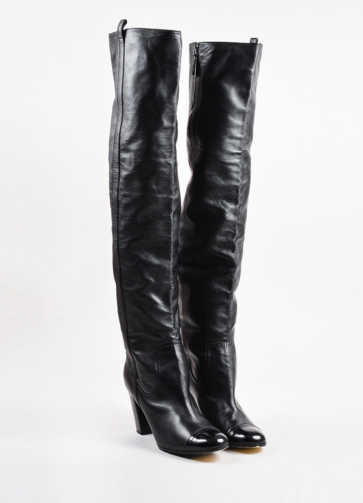 Chanel Black Leather Cap Toe Paneled Block Heel Over The Knee Boots Front