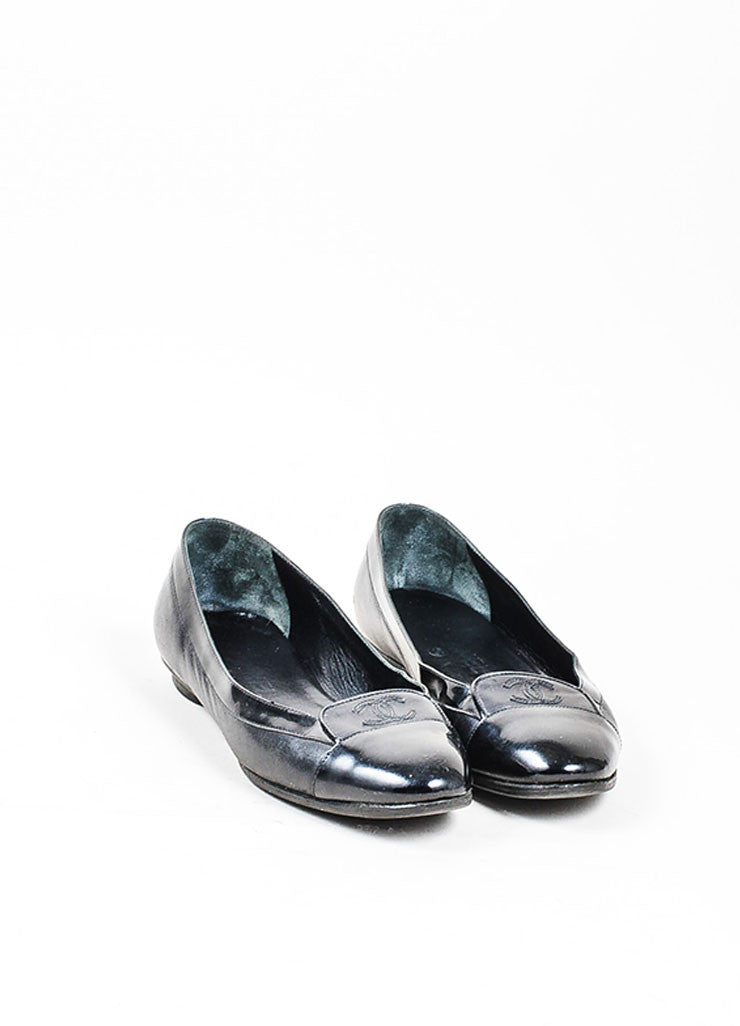 Black Chanel Patent Leather Cap Toe 'CC' Low Heel Loafers Frontview
